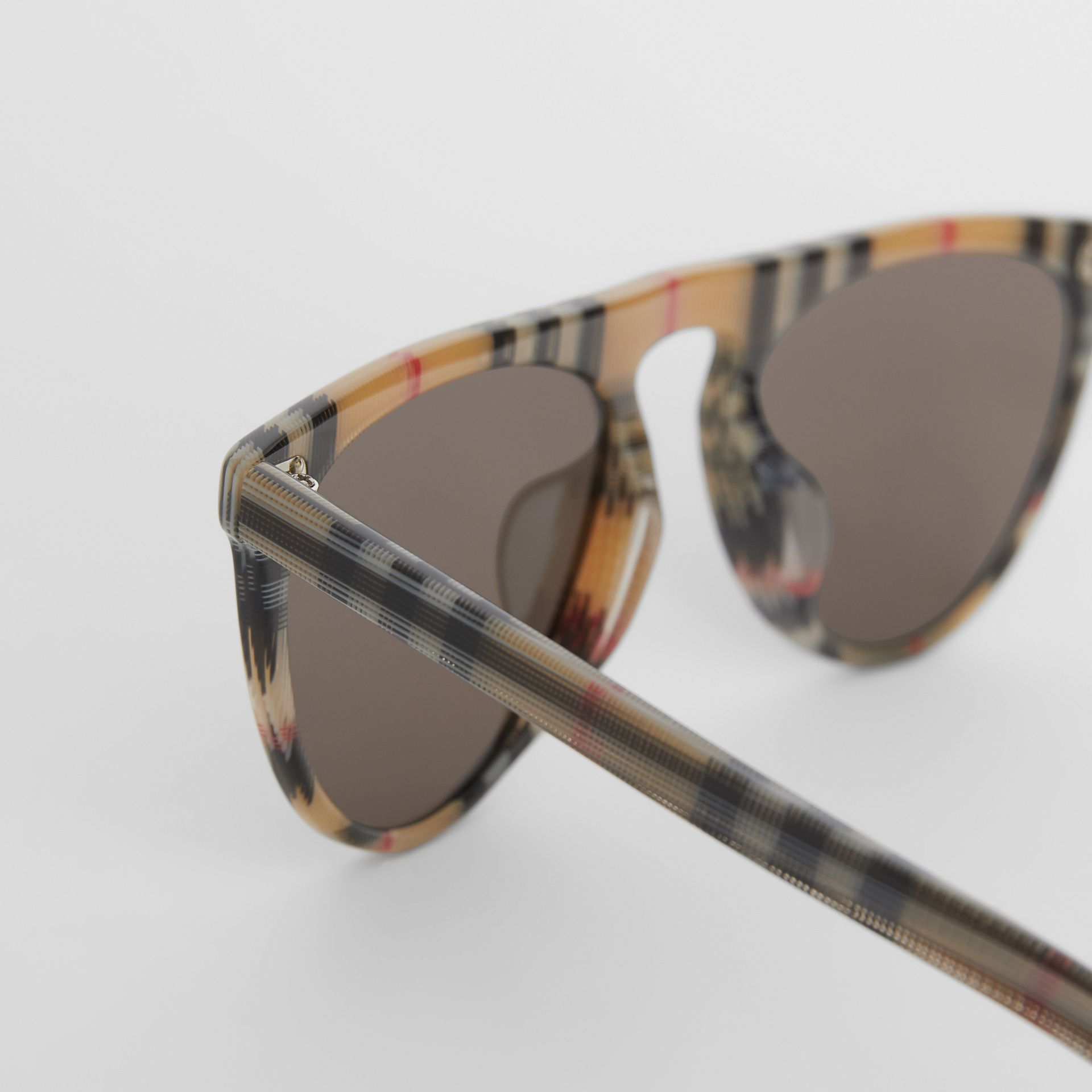 Vintage Check Keyhole D-shaped Sunglasses in Antique Yellow - Men | Burberry - gallery image 1