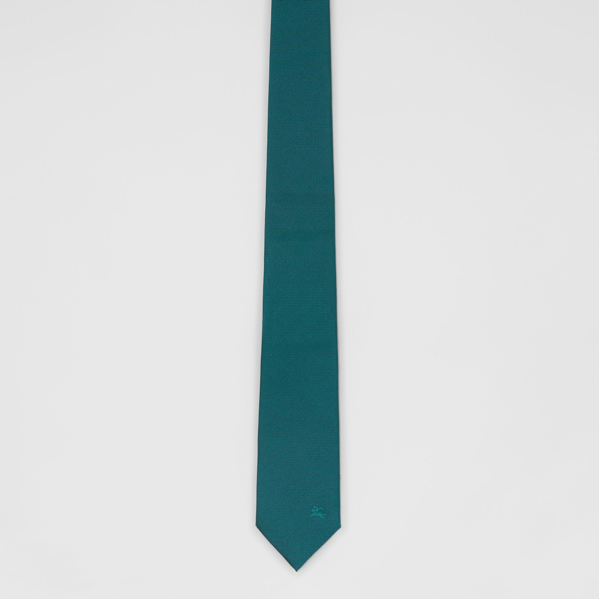 Modern Cut Check Detail Silk Tie in Dark Cyan - Men | Burberry - gallery image 3