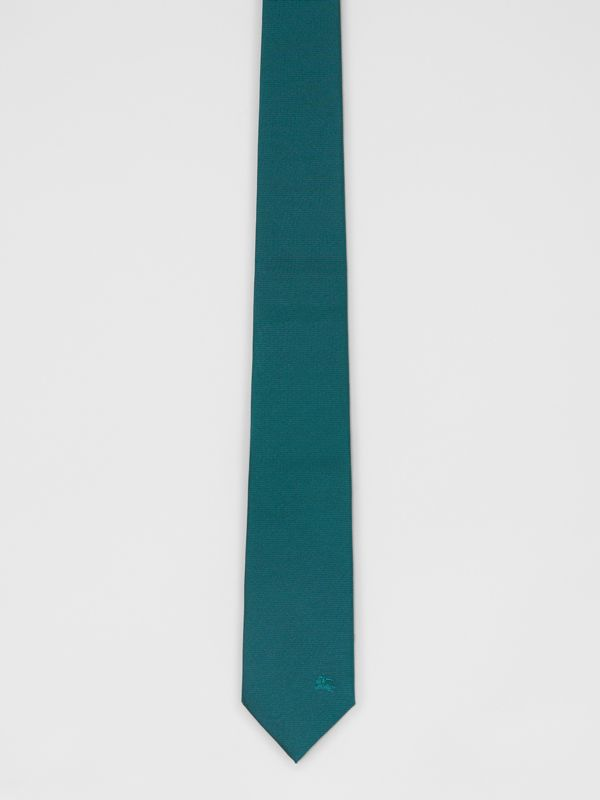 Modern Cut Check Detail Silk Tie in Dark Cyan - Men | Burberry - cell image 3