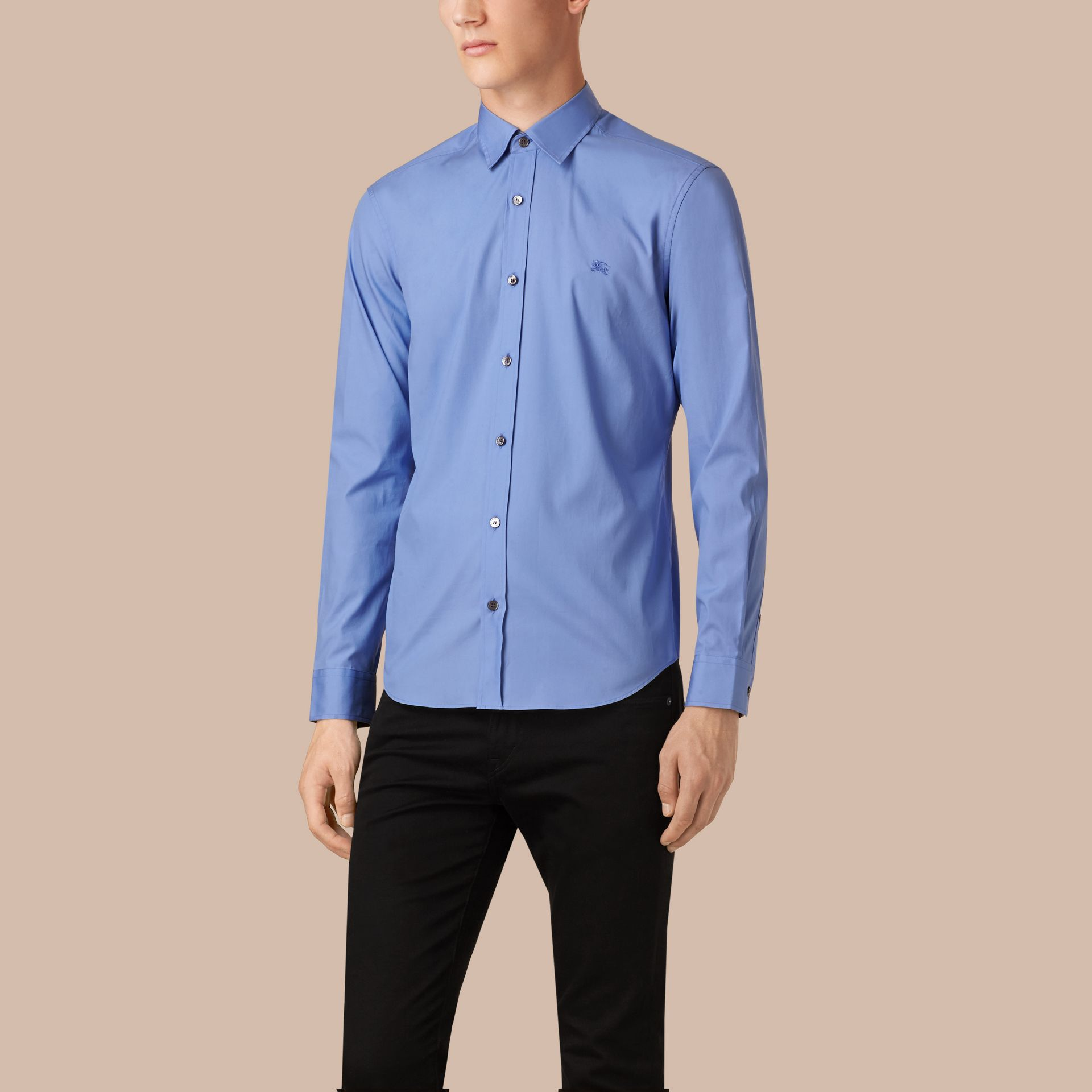 Hydrangea blue Check Detail Stretch Cotton Poplin Shirt - gallery image 1
