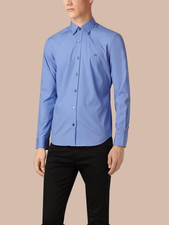 Hemd aus Stretch-Baumwollpopelin mit Check-Detail Hortensienblau