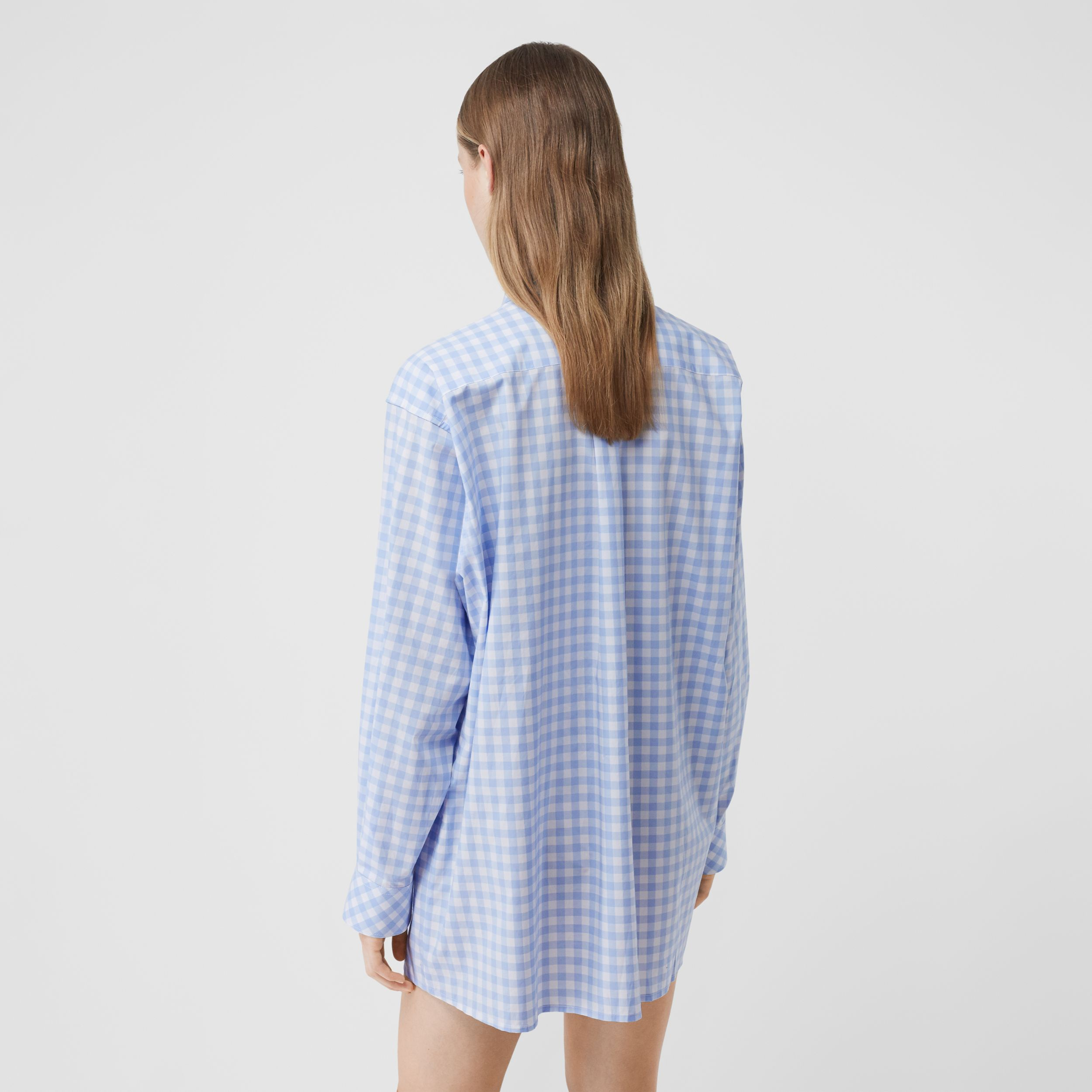 Gingham Cotton Poplin Shirt Dress in Pale Blue - Women | Burberry - 3