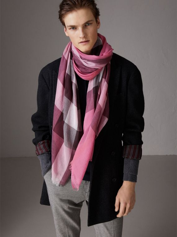 Check Modal Cashmere and Silk Scarf in Rose Pink - Women | Burberry - cell image 3