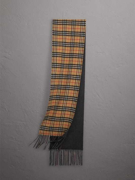 Écharpe longue réversible en cachemire double face à motif Vintage check (Bleu Ardoise)