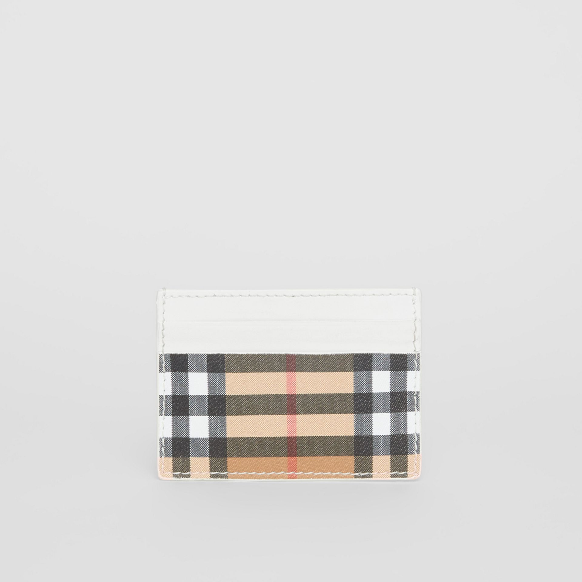 Vintage Check and Leather Card Case in Chalk White | Burberry - gallery image 4
