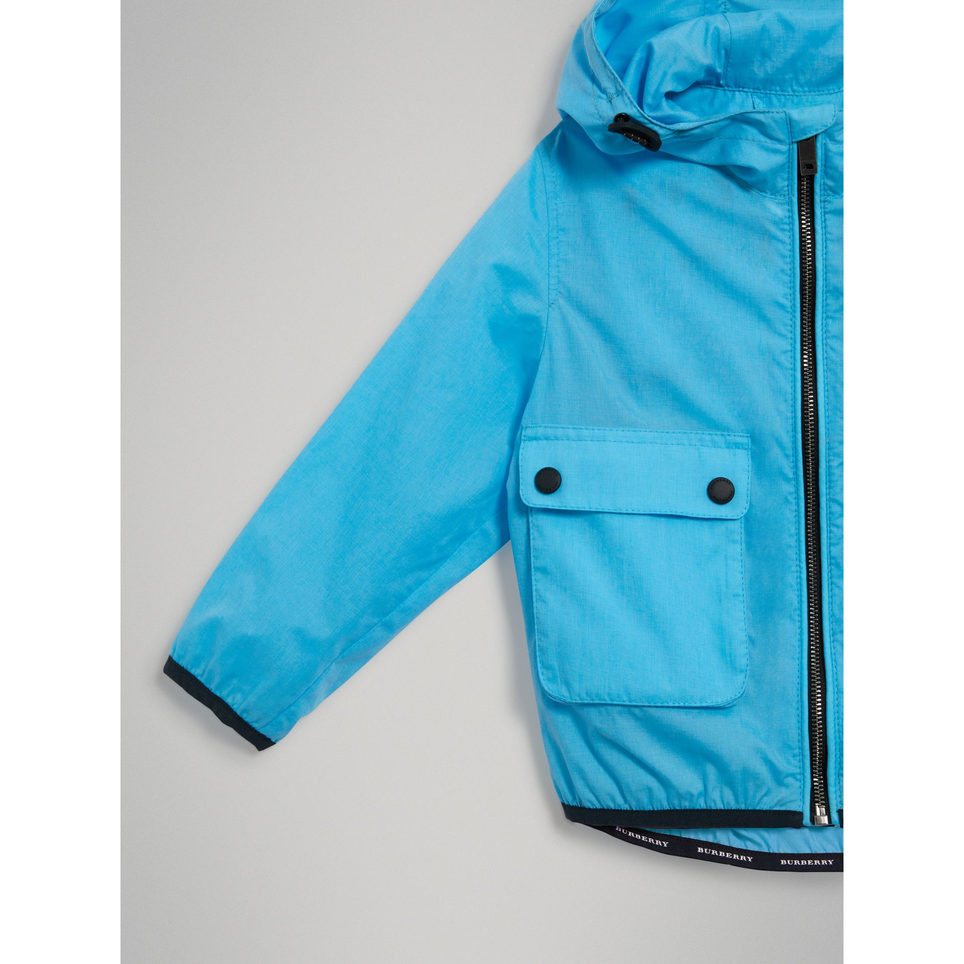 Showerproof Hooded Jacket in Bright Turquoise - Boy | Burberry United Kingdom - gallery image 4