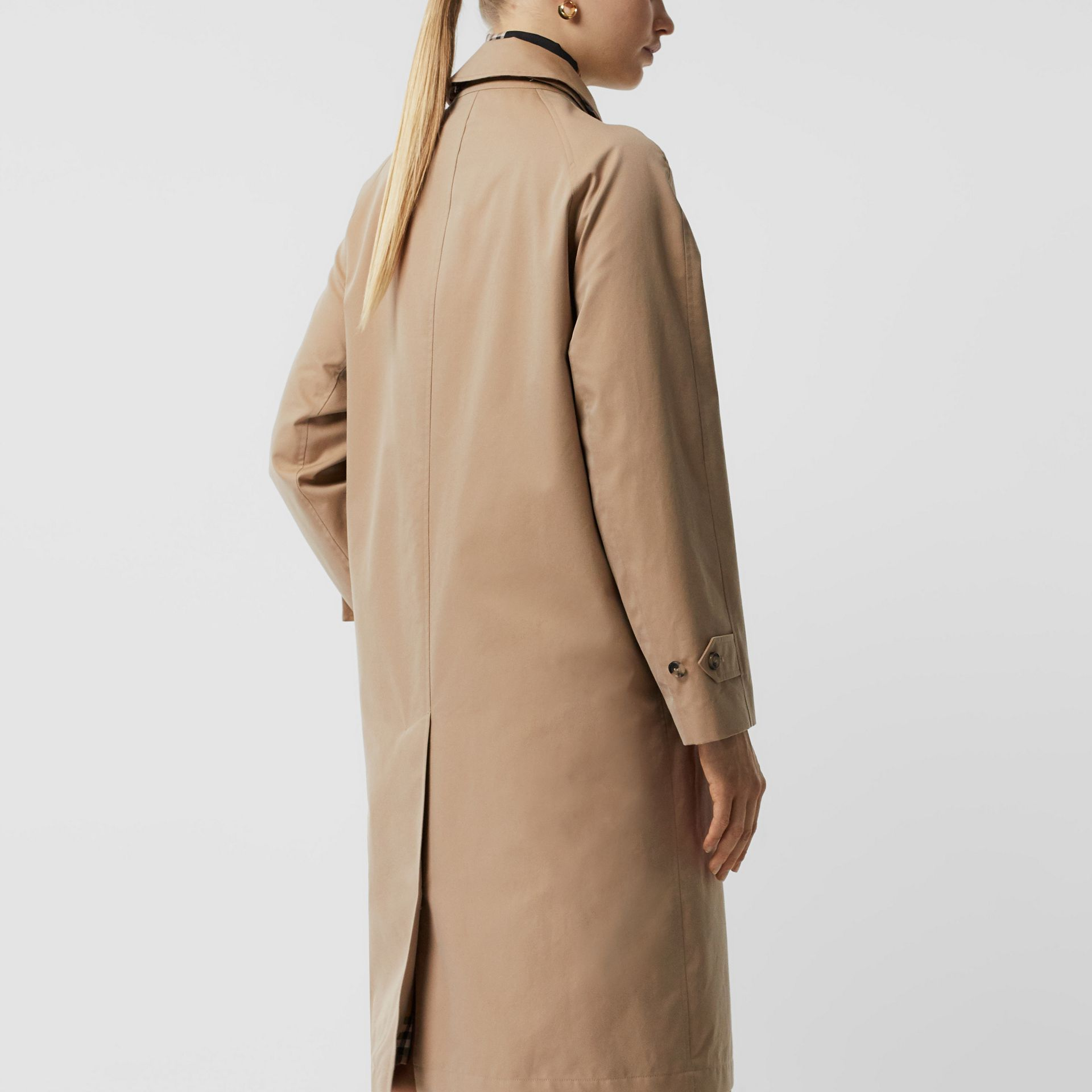 Grommet Detail Cotton Gabardine Car Coat in Honey - Women | Burberry - gallery image 2