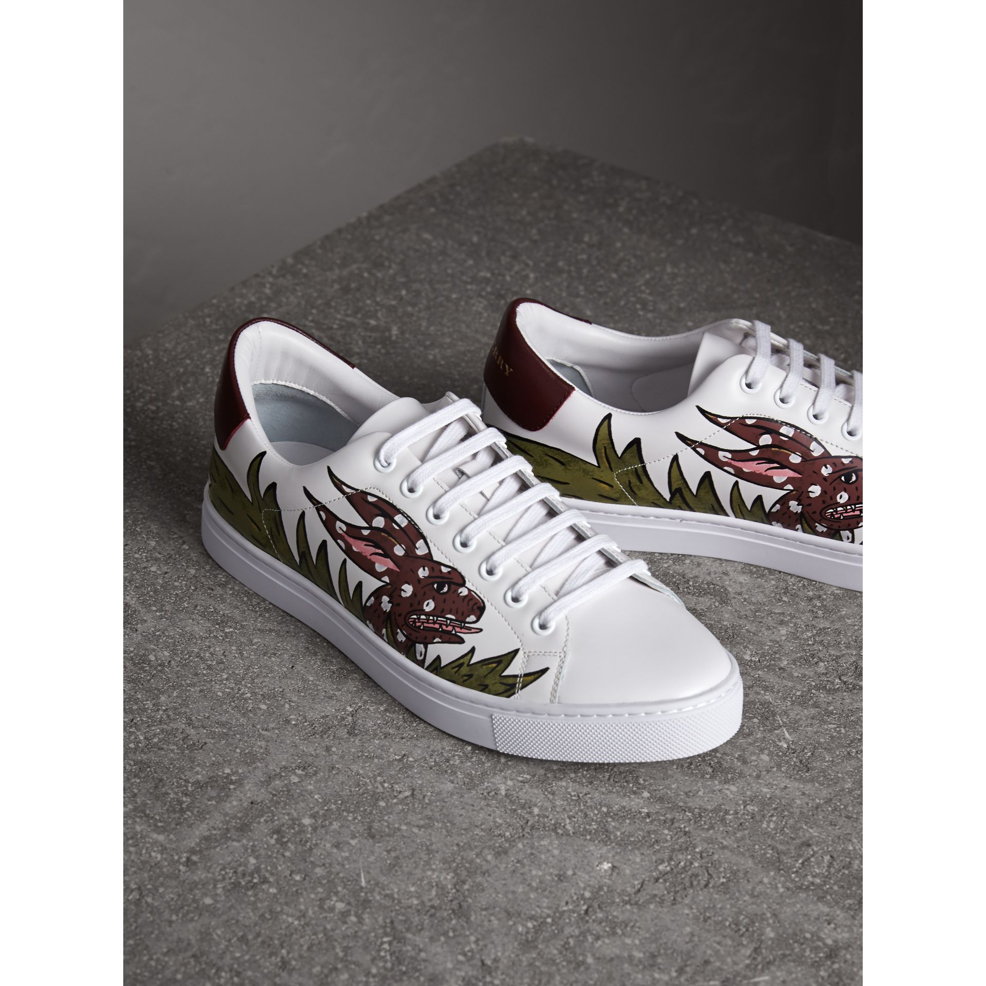 Beasts Print Leather Trainers in Optic White | Burberry Singapore - gallery image 4