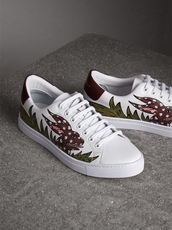 Beasts Print Leather Trainers in Optic White | Burberry - cell image 3
