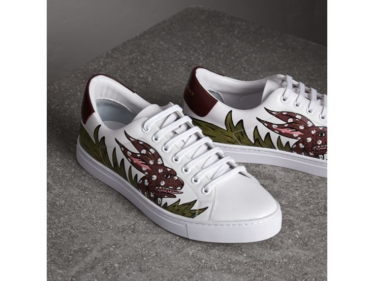 Beasts Print Leather Trainers in Optic White - Men | Burberry - cell image 4