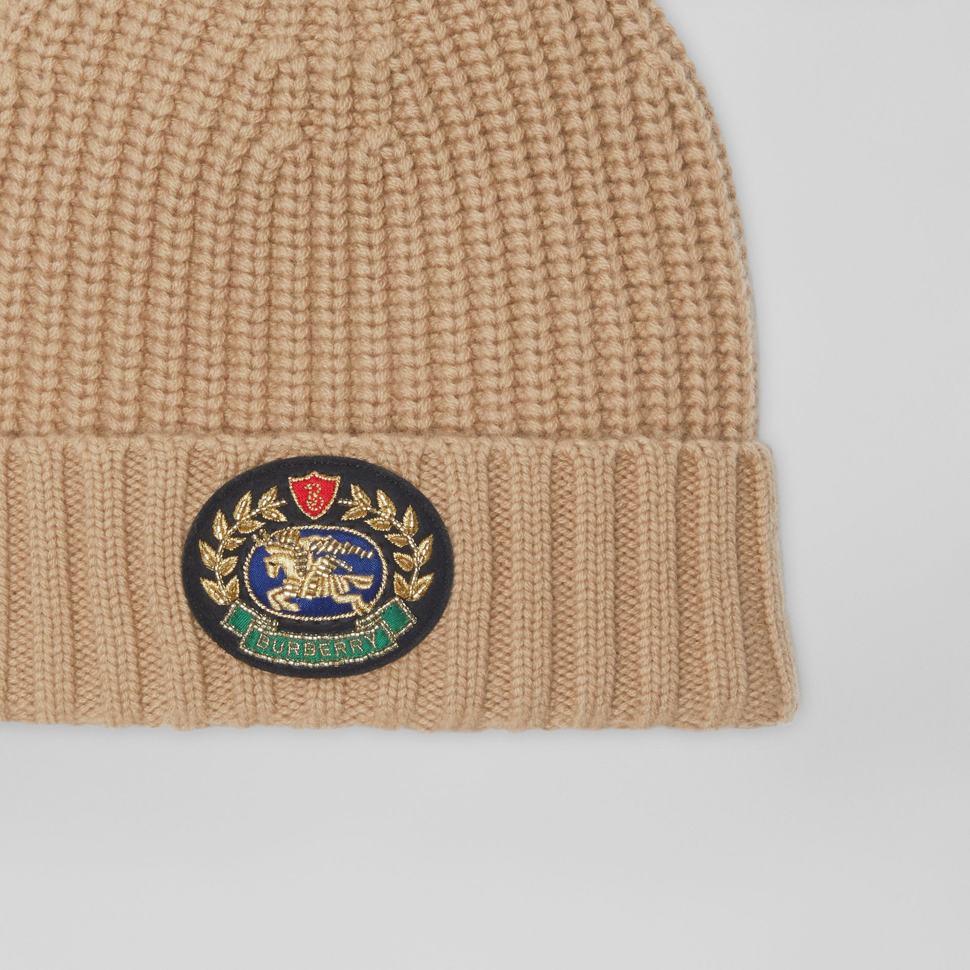 Embroidered Crest Rib Knit Wool Cashmere Beanie in Sand | Burberry - gallery image 1