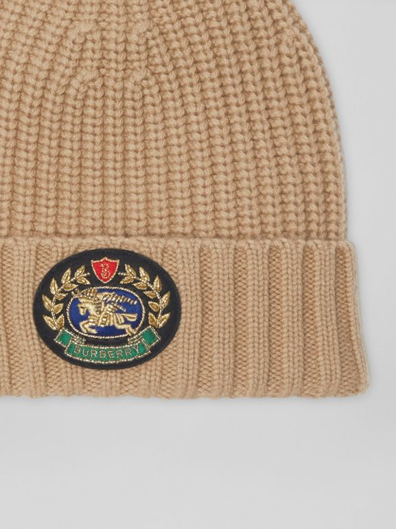 Embroidered Crest Rib Knit Wool Cashmere Beanie in Sand | Burberry - cell image 1