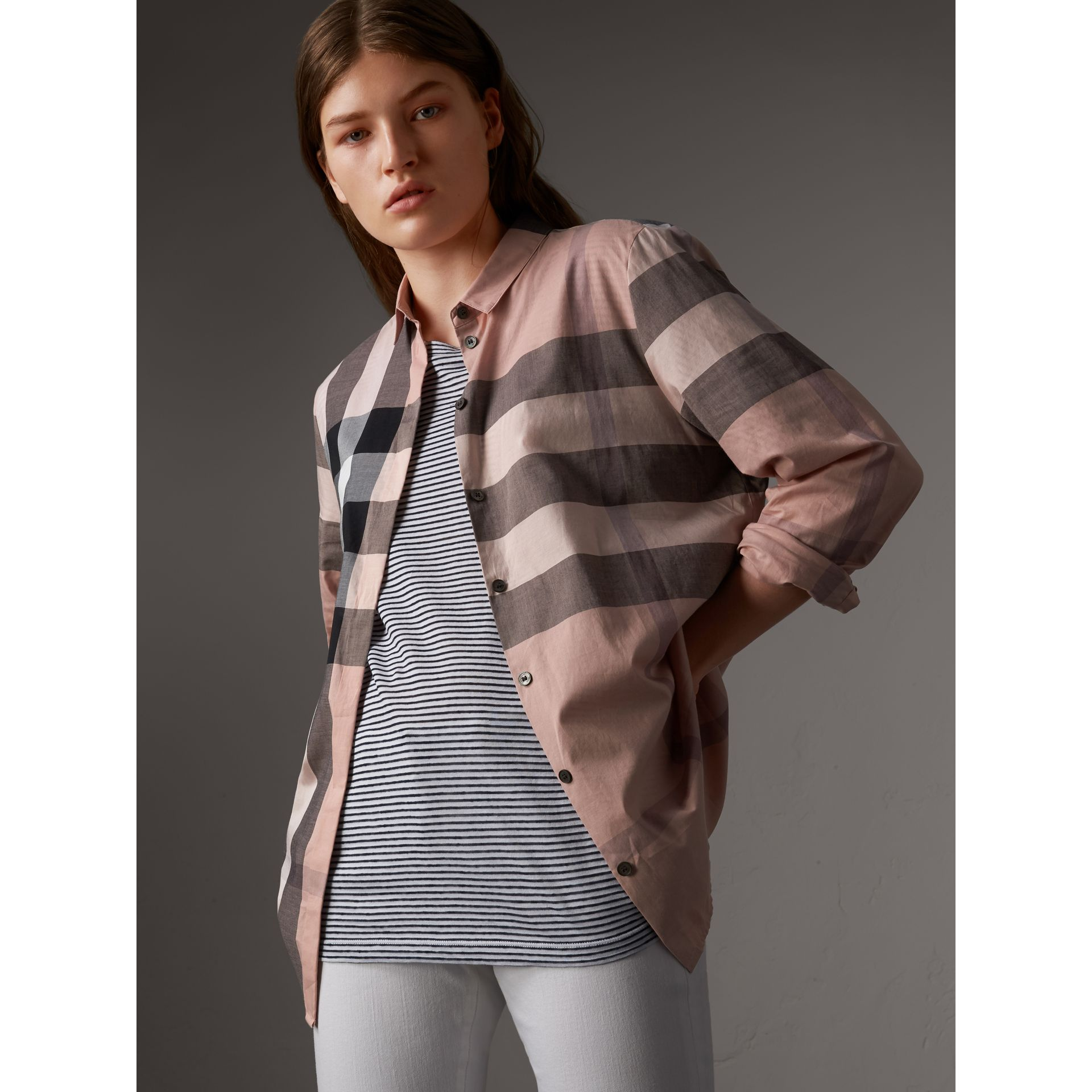 Check Cotton Shirt in Antique Pink - Women | Burberry Canada - gallery image 1