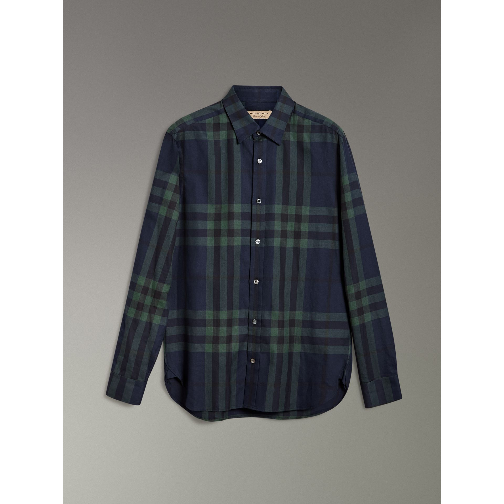 Check Cotton Cashmere Flannel Shirt in Navy - Men | Burberry - gallery image 3