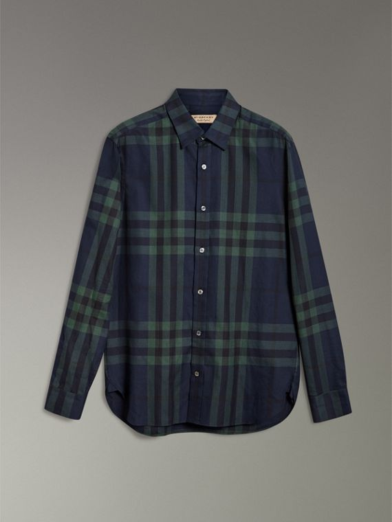 Check Cotton Cashmere Flannel Shirt in Navy - Men | Burberry - cell image 3