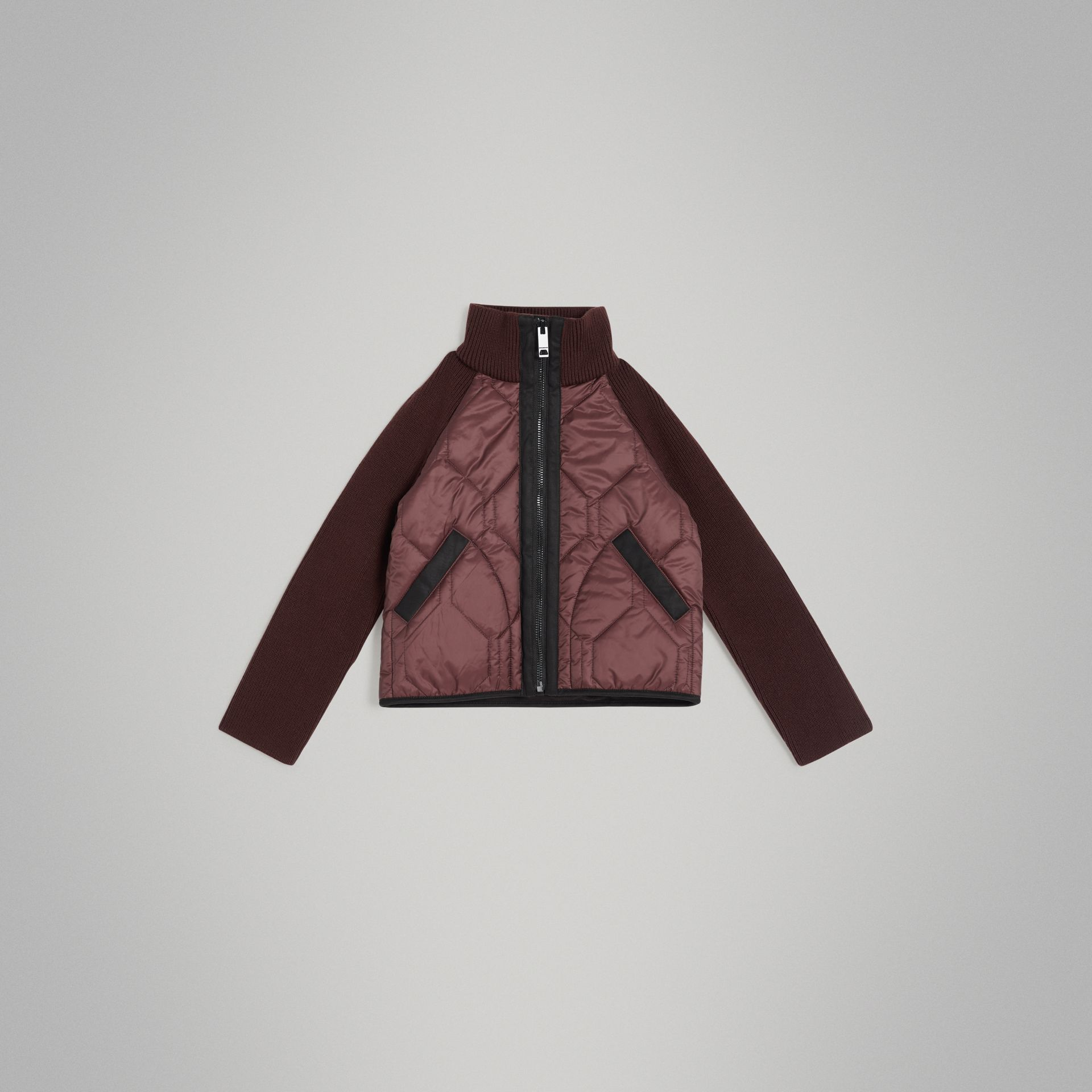 Knitted Sleeve Quilted Jacket in Burgundy - Girl | Burberry Singapore - gallery image 0