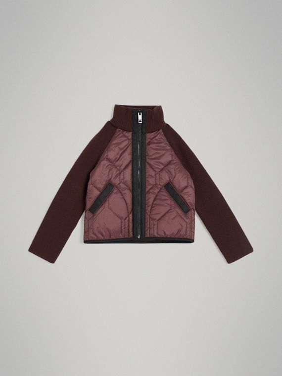Knitted Sleeve Quilted Jacket in Burgundy