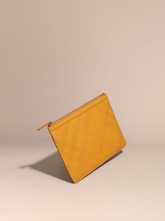 Check-embossed Leather Pouch Amber Yellow