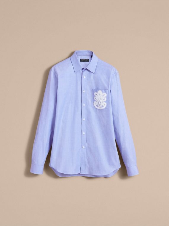 Lace Appliqué Cotton Shirt in Mid Indigo - Men | Burberry - cell image 3