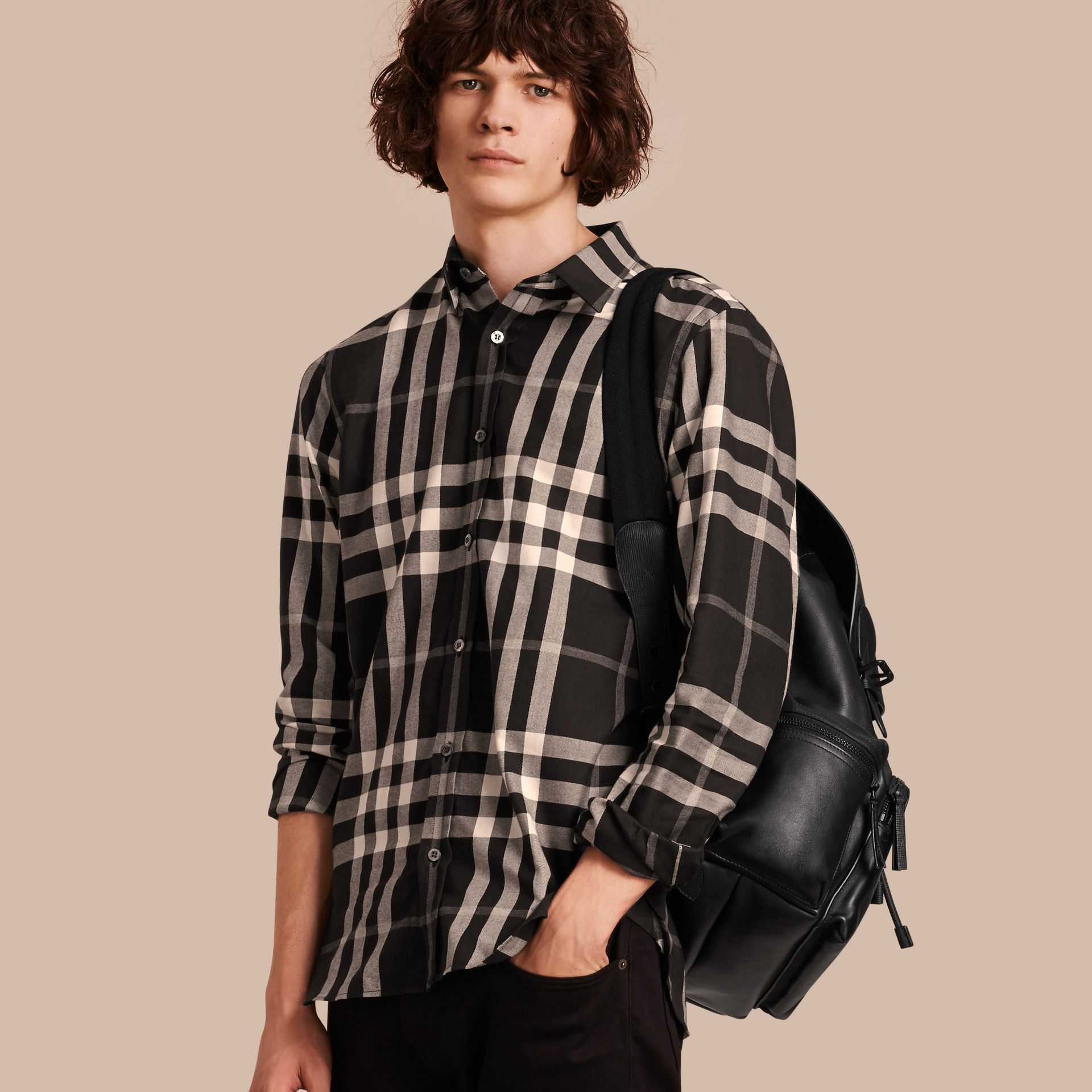 Black Check Cotton Cashmere Flannel Shirt Black - gallery image 1