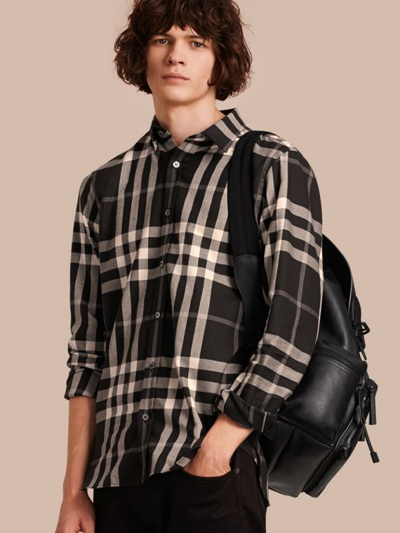 Check Cotton Cashmere Flannel Shirt Black