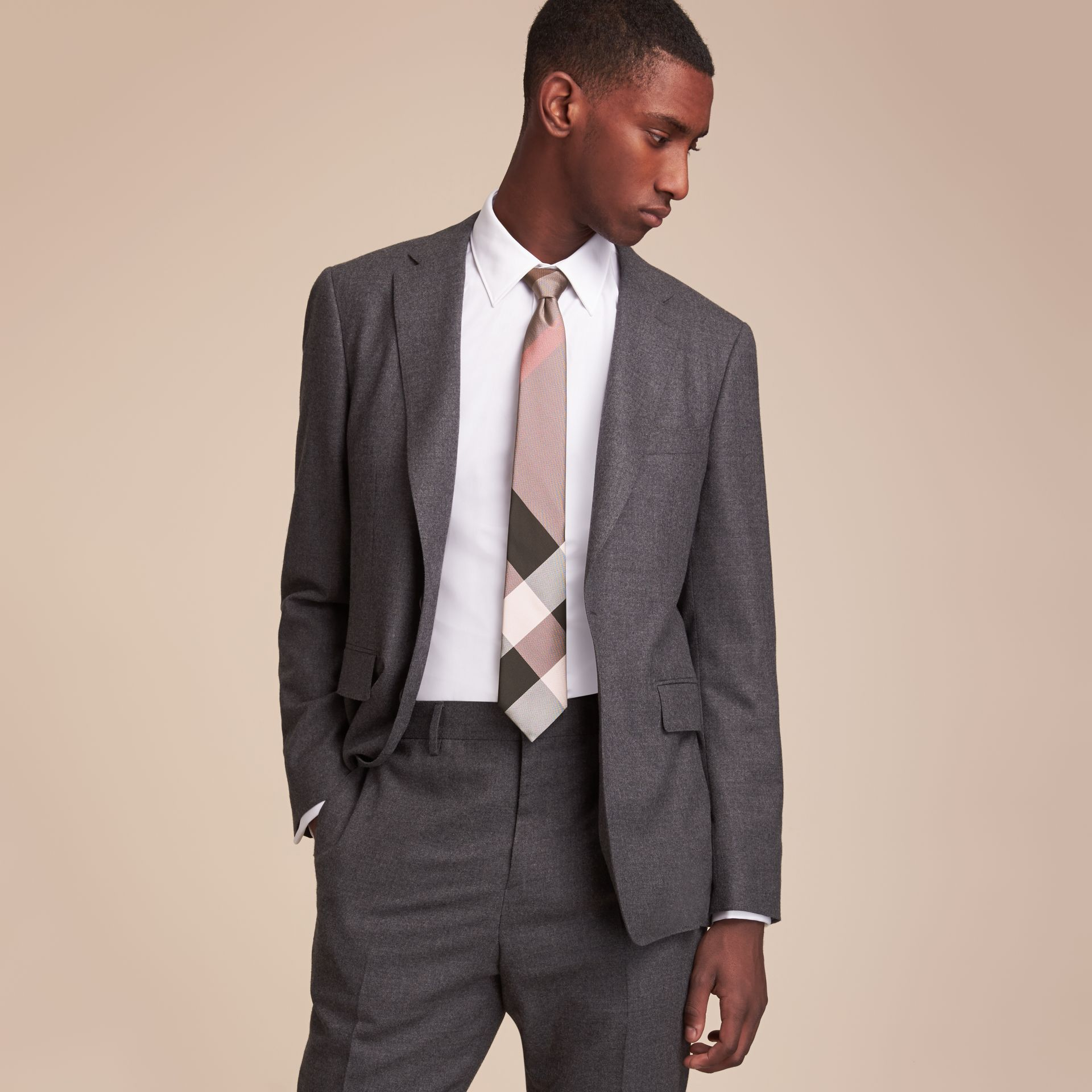 Modern Cut Check Silk Tie in Chalk Pink - Men | Burberry Singapore - gallery image 3
