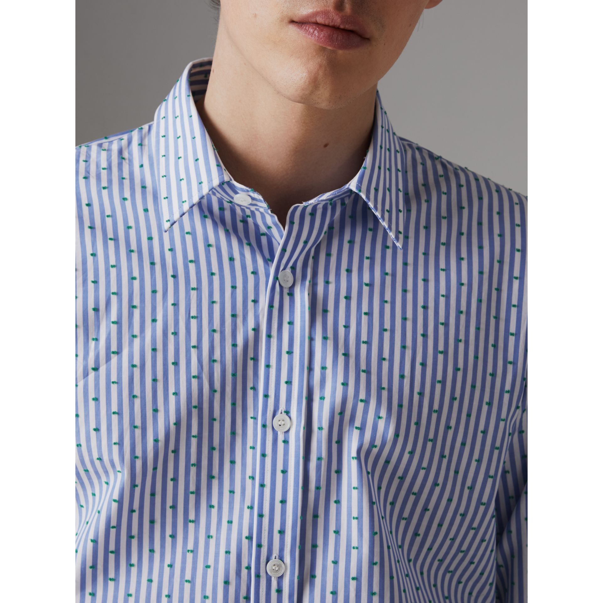 Slim Fit Fil Coupé Striped Cotton Shirt in Mid Blue - Men | Burberry - gallery image 1