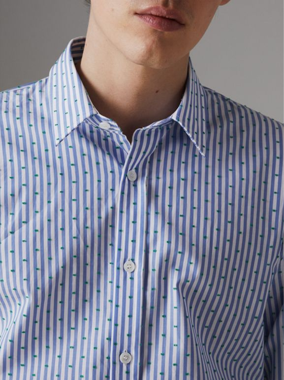 Slim Fit Fil Coupé Striped Cotton Shirt in Mid Blue - Men | Burberry Singapore - cell image 1
