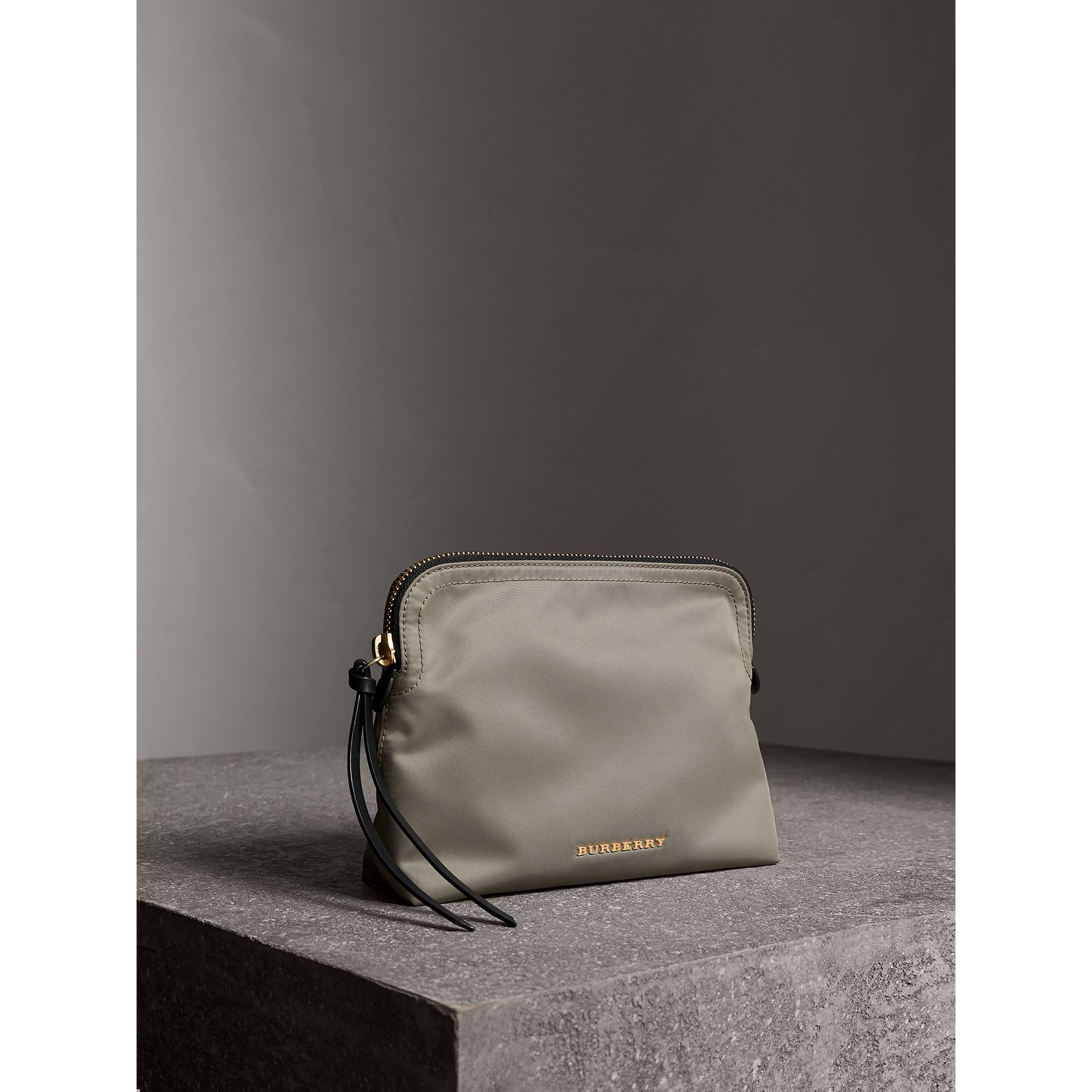 Large Zip-top Technical Nylon Pouch in Thistle Grey - Women | Burberry - gallery image 6