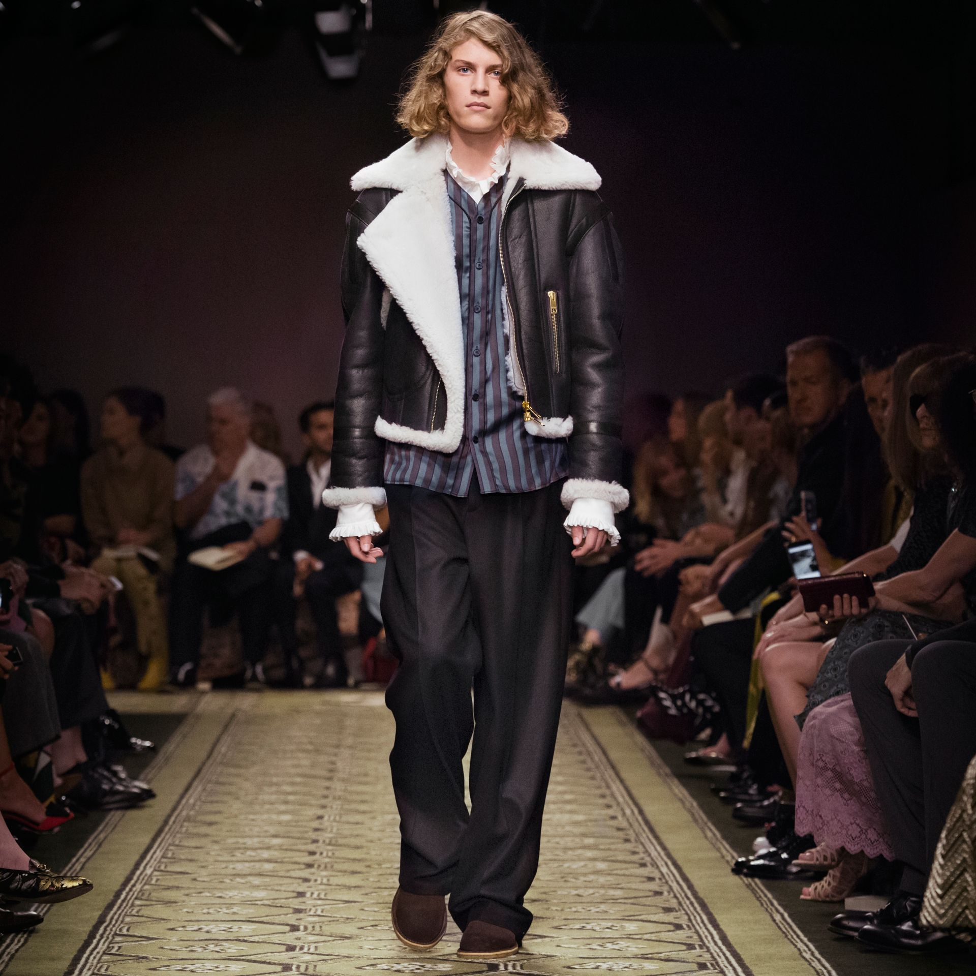 Panelled Shearling Aviator Jacket - gallery image 9