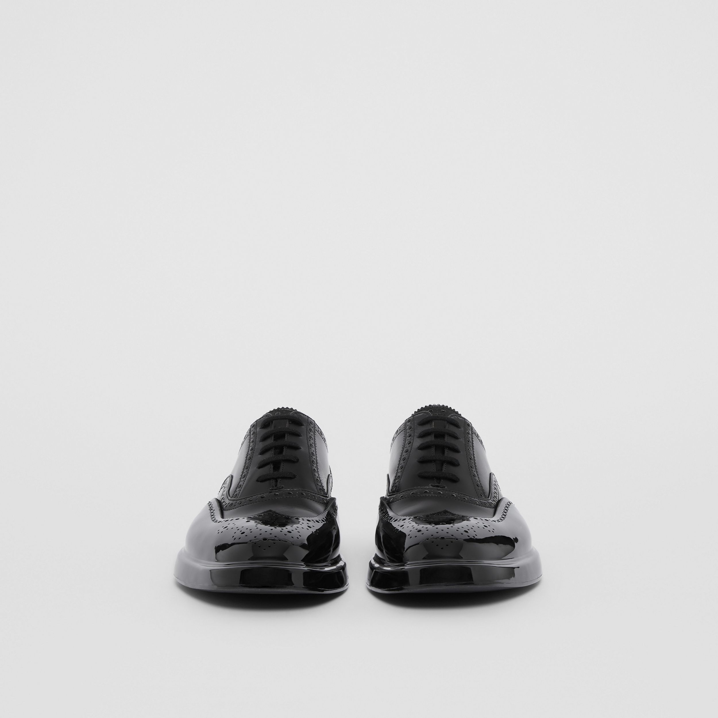 Toe Cap Detail Leather Oxford Brogues in Black - Men | Burberry - 4