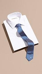 Slim Cut Geometric Jacquard Silk Tie
