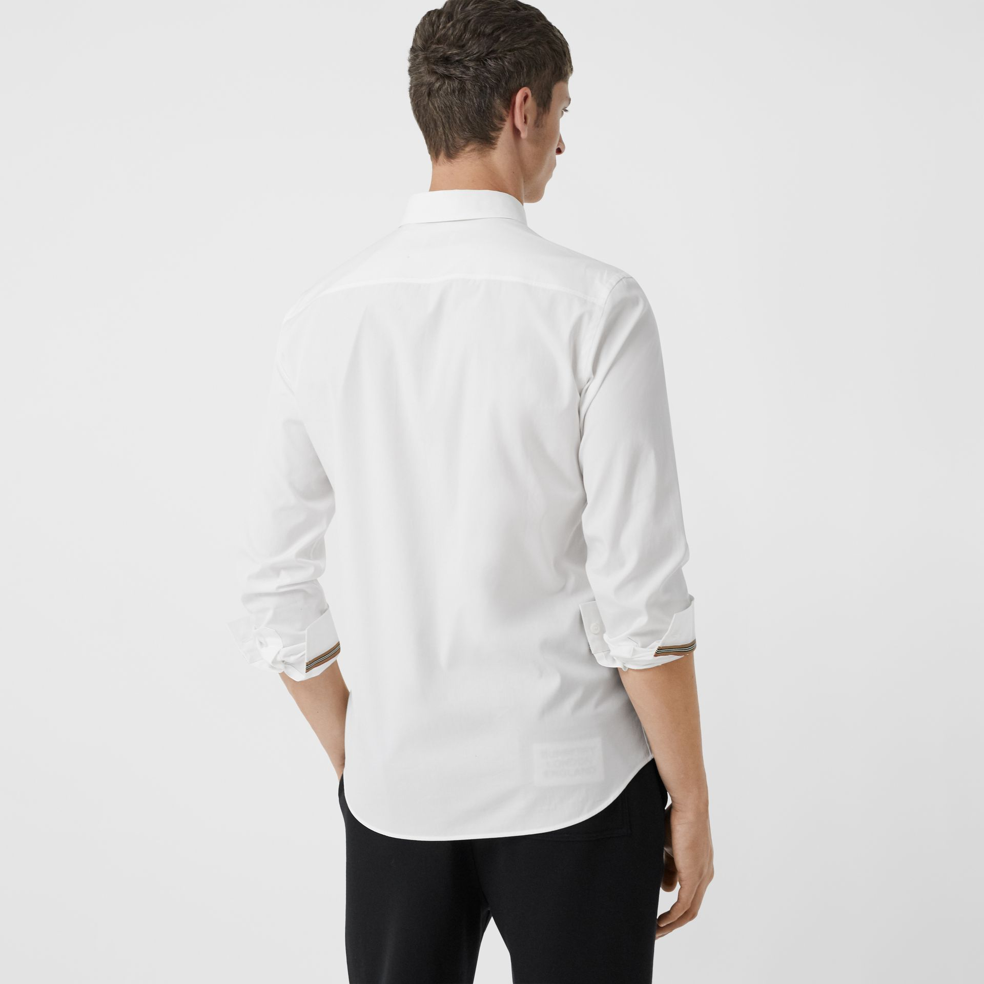 Monogram Motif Stretch Cotton Poplin Shirt in White - Men | Burberry - gallery image 2