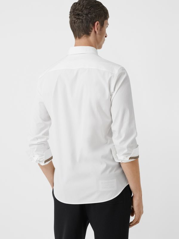 Monogram Motif Stretch Cotton Poplin Shirt in White - Men | Burberry - cell image 2