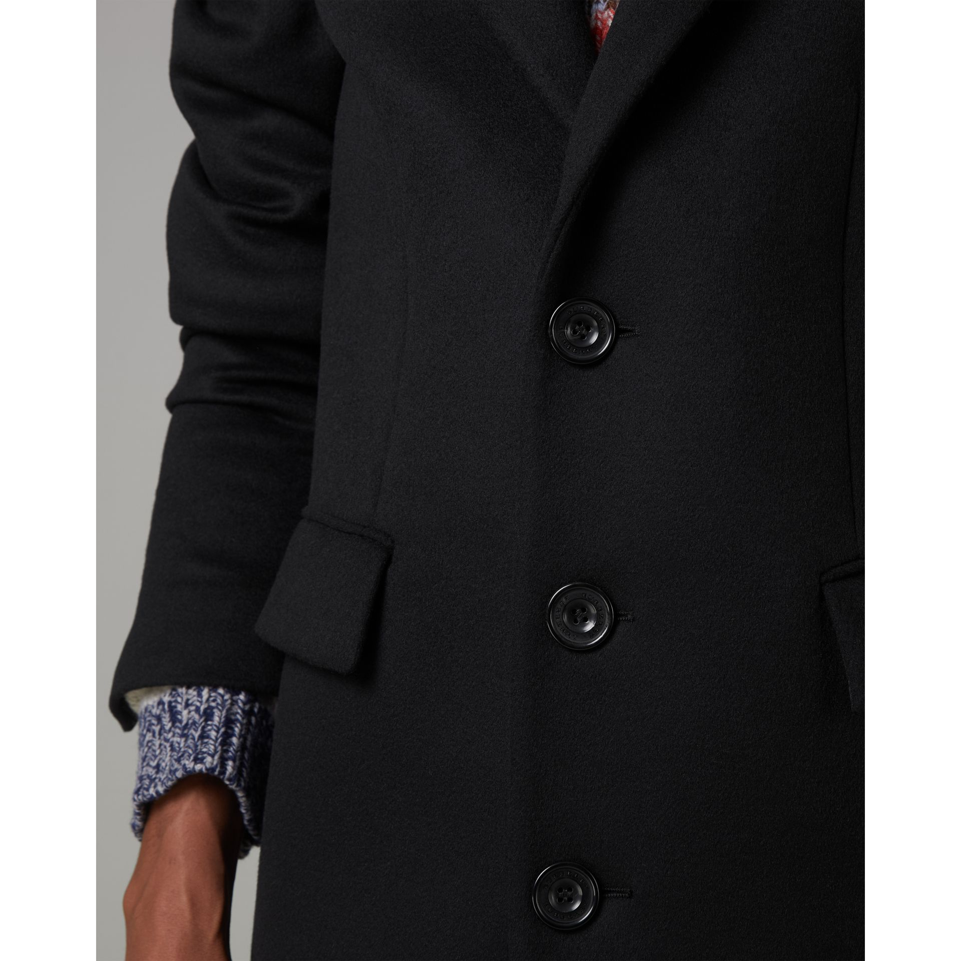 Wool Cashmere Tailored Coat in Black - Men | Burberry United Kingdom - gallery image 4