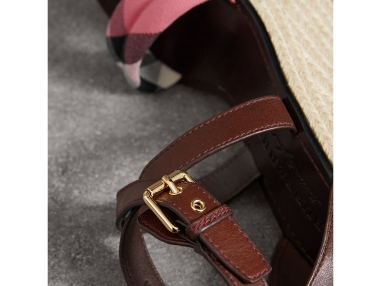 Leather and House Check Platform Espadrille Wedge Sandals in Cerise Purple - Women | Burberry - cell image 1