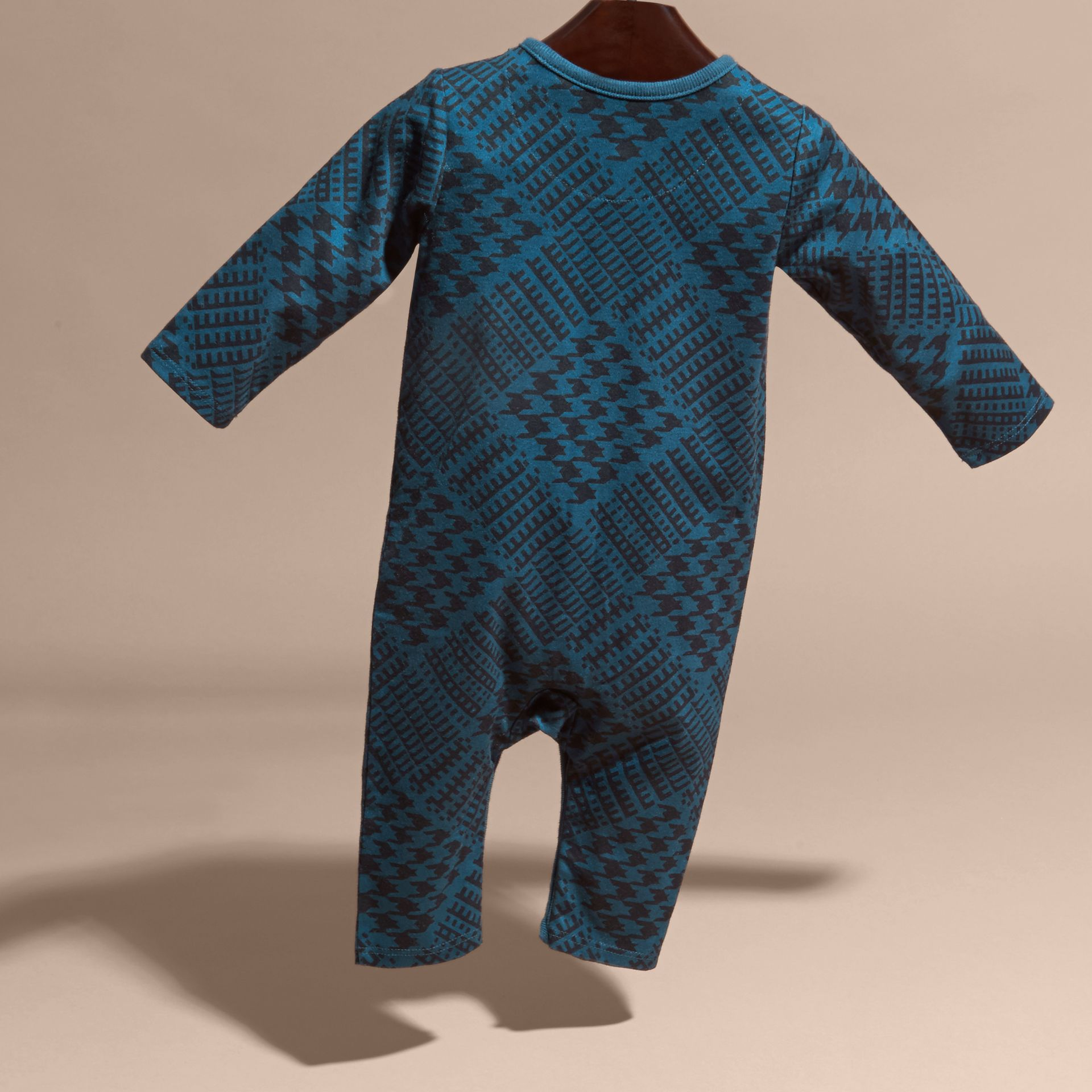 Mineral blue Prince of Wales Check Print Cotton Jumpsuit - gallery image 4