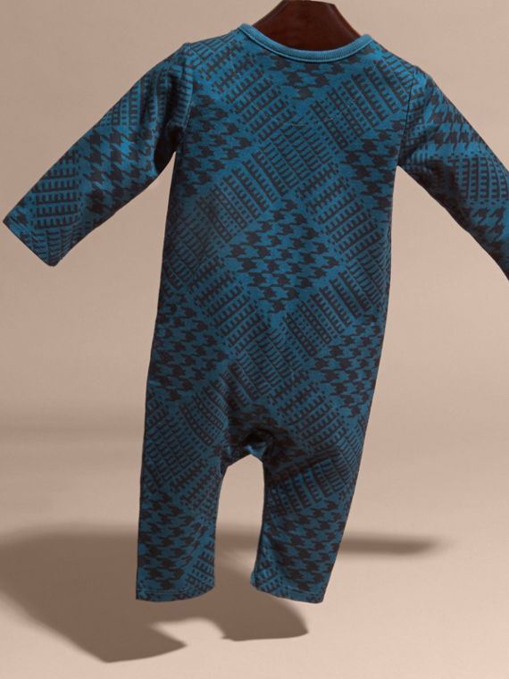 Mineral blue Prince of Wales Check Print Cotton Jumpsuit - cell image 3