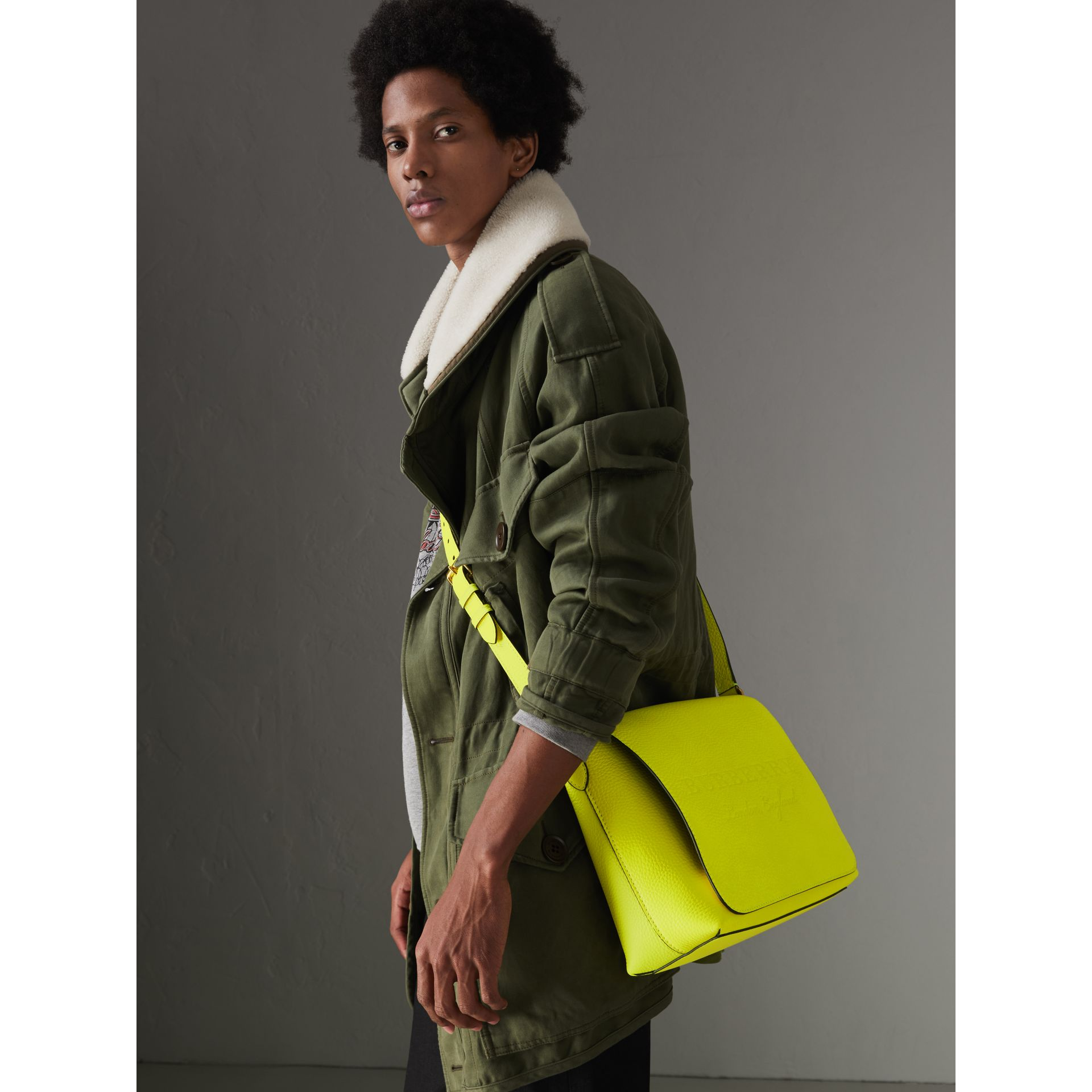 Medium Embossed Leather Messenger Bag in Neon Yellow | Burberry United Kingdom - gallery image 3