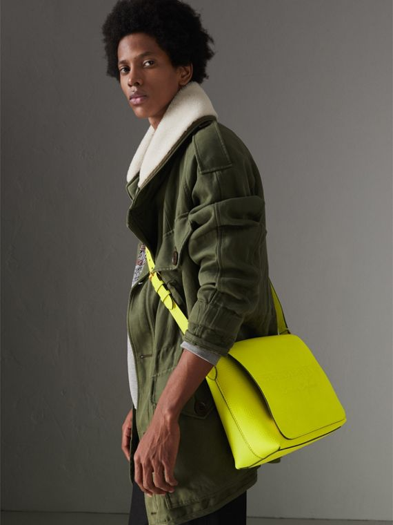 Medium Embossed Leather Messenger Bag in Neon Yellow | Burberry - cell image 3