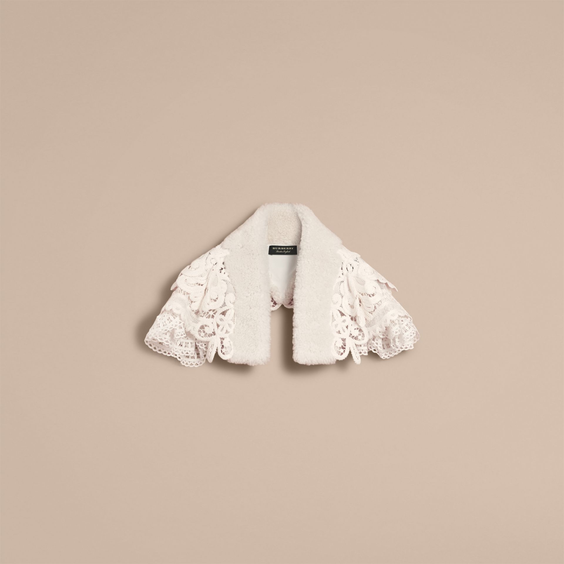 Lace Capelet with Shearling Collar in White - Women | Burberry - gallery image 4