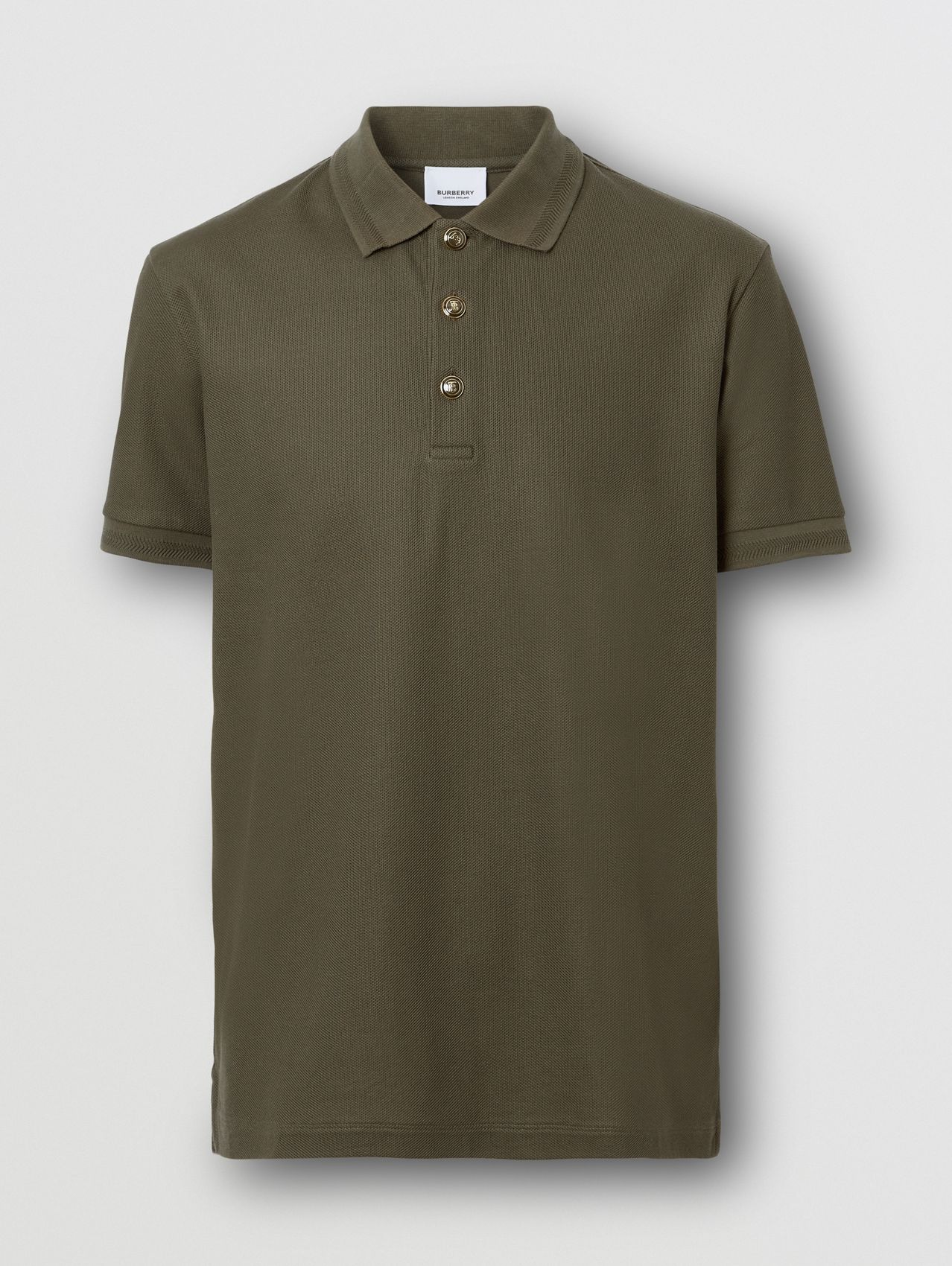 Cotton Piqué Polo Shirt in Dark Olive Green