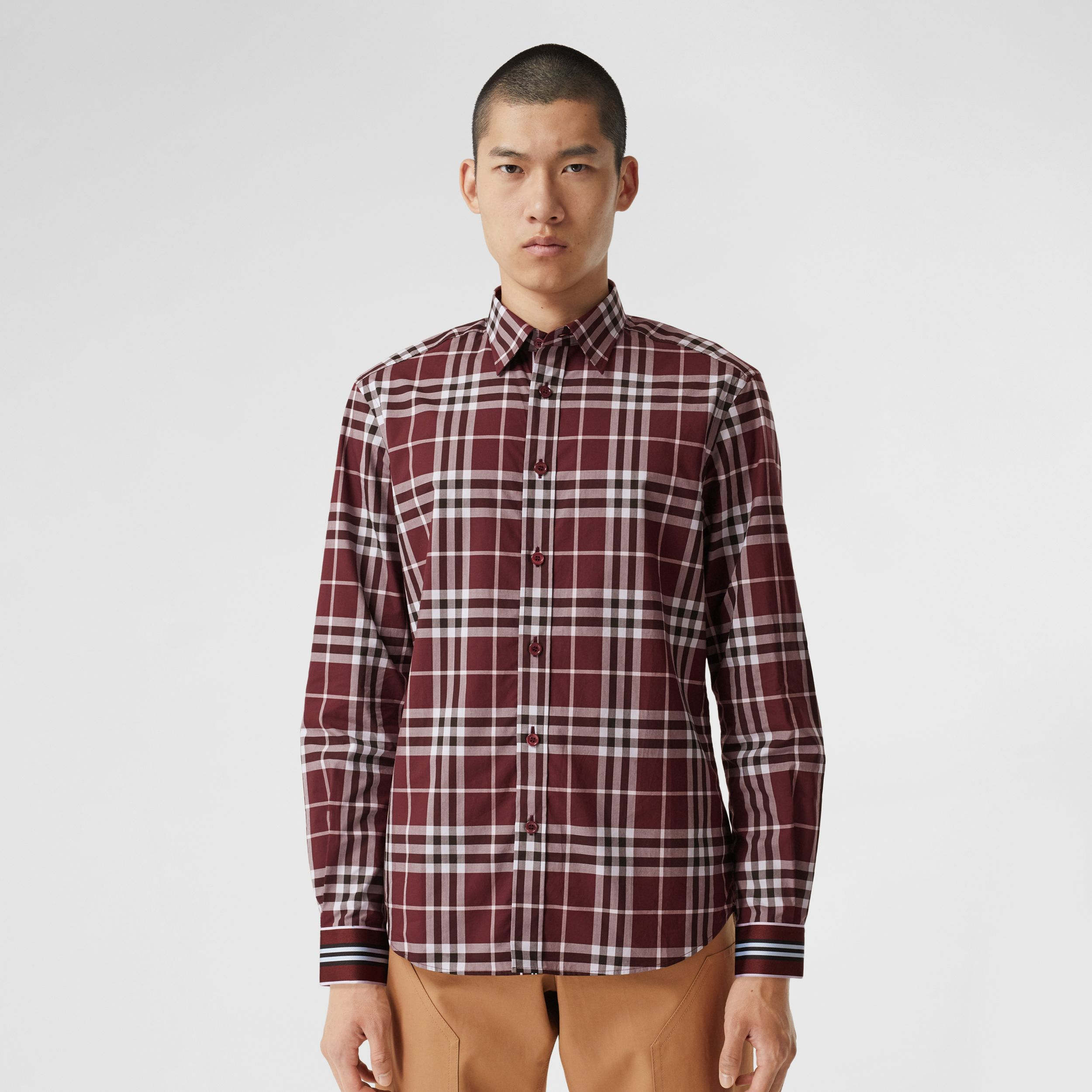 Stripe Cuff Check Cotton Shirt in Burgundy Red - Men | Burberry - 1