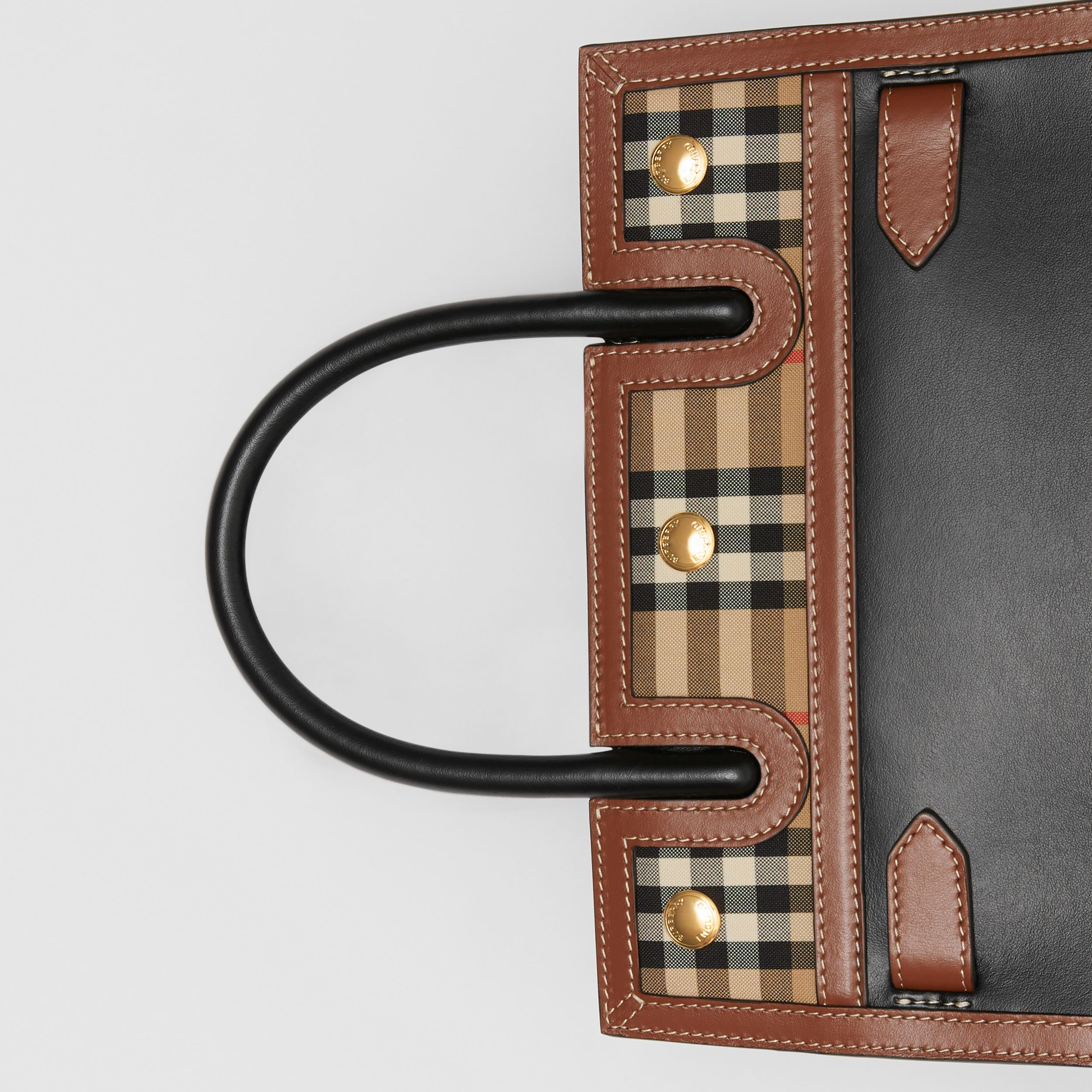 Mini Leather and Vintage Check Two-handle Title Bag in Black - Women | Burberry United Kingdom - 2