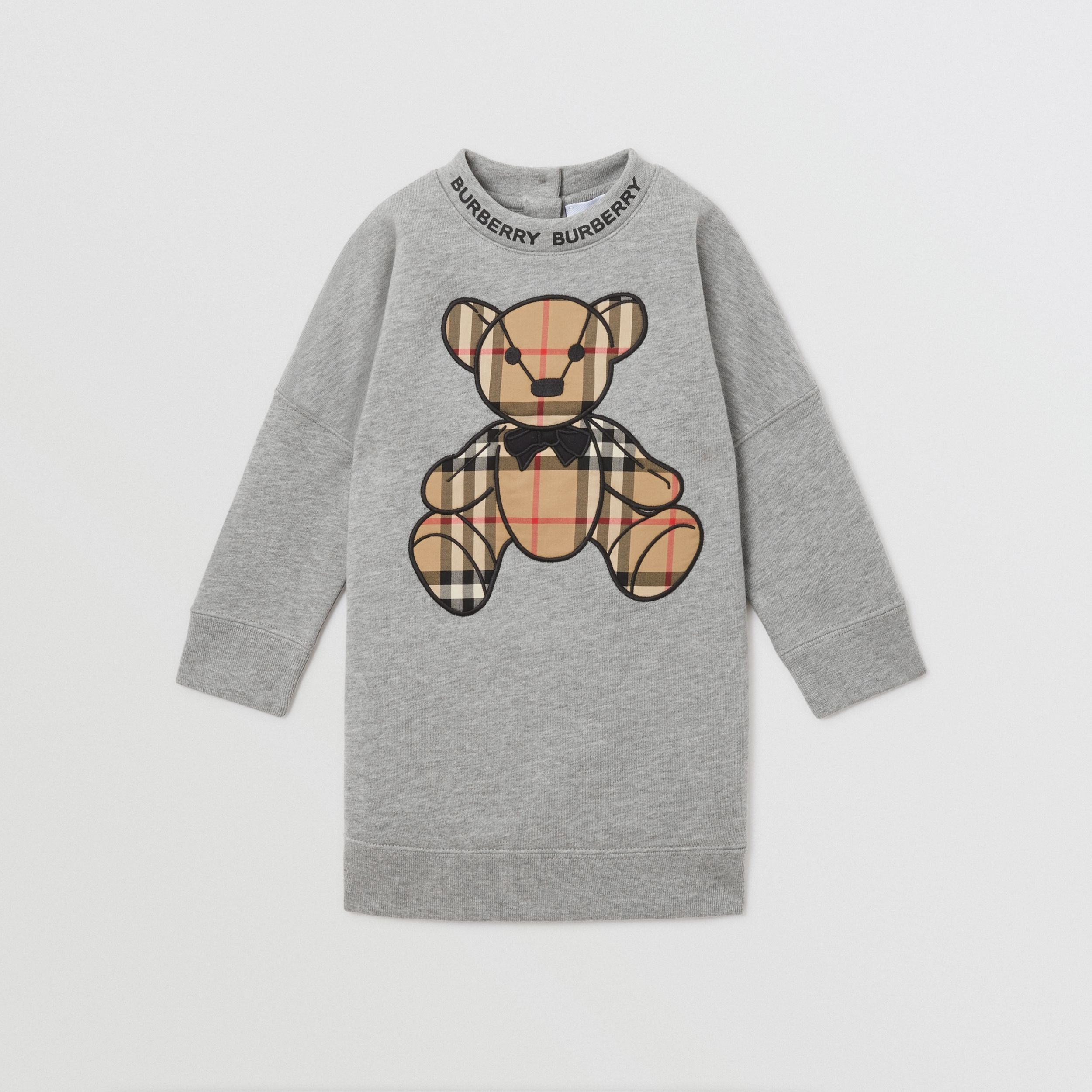 Thomas Bear Appliqué Cotton Sweater Dress in Grey Melange - Children | Burberry - 1