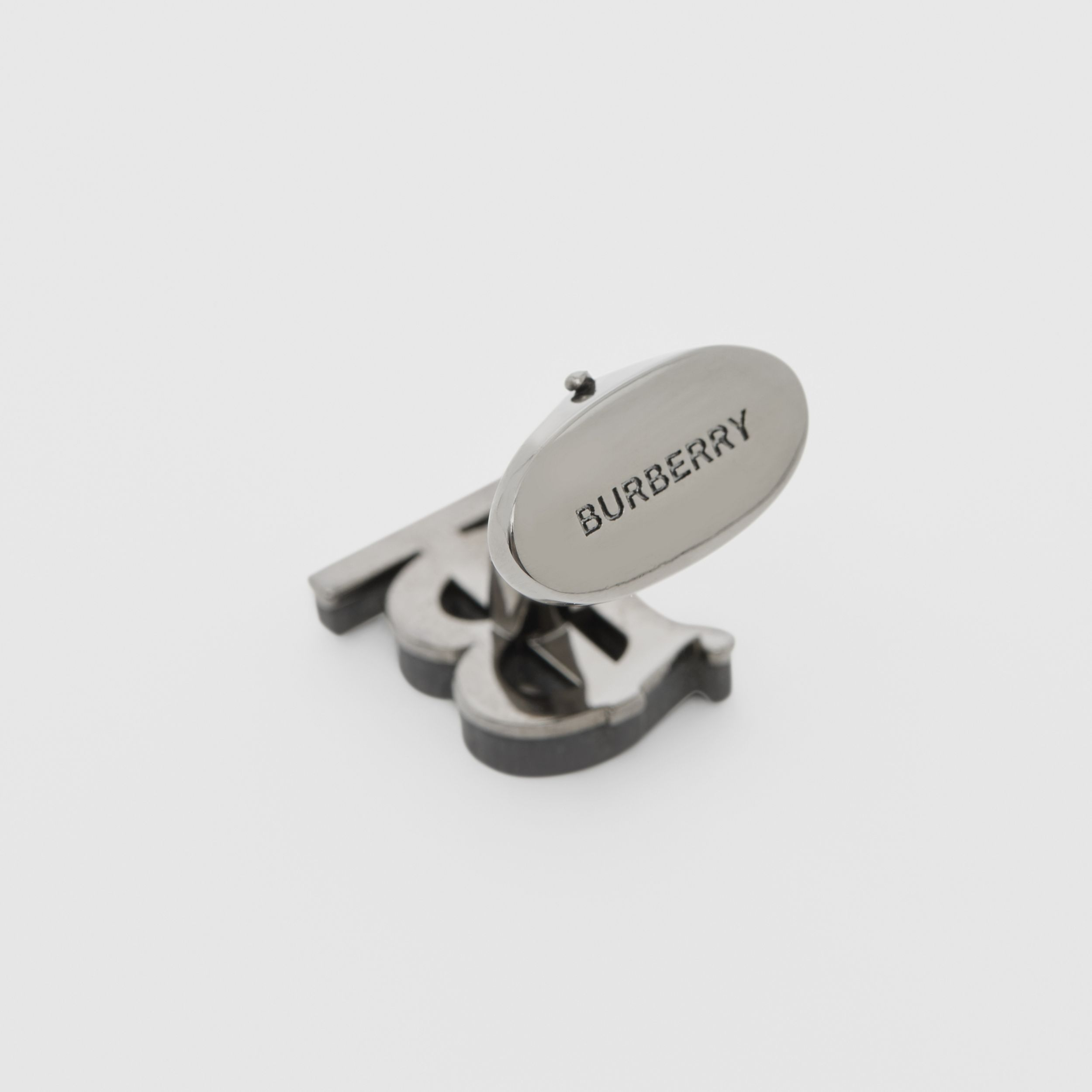 Monogram Motif Resin and Palladium-plated Cufflinks in Matte Black - Men | Burberry - 2