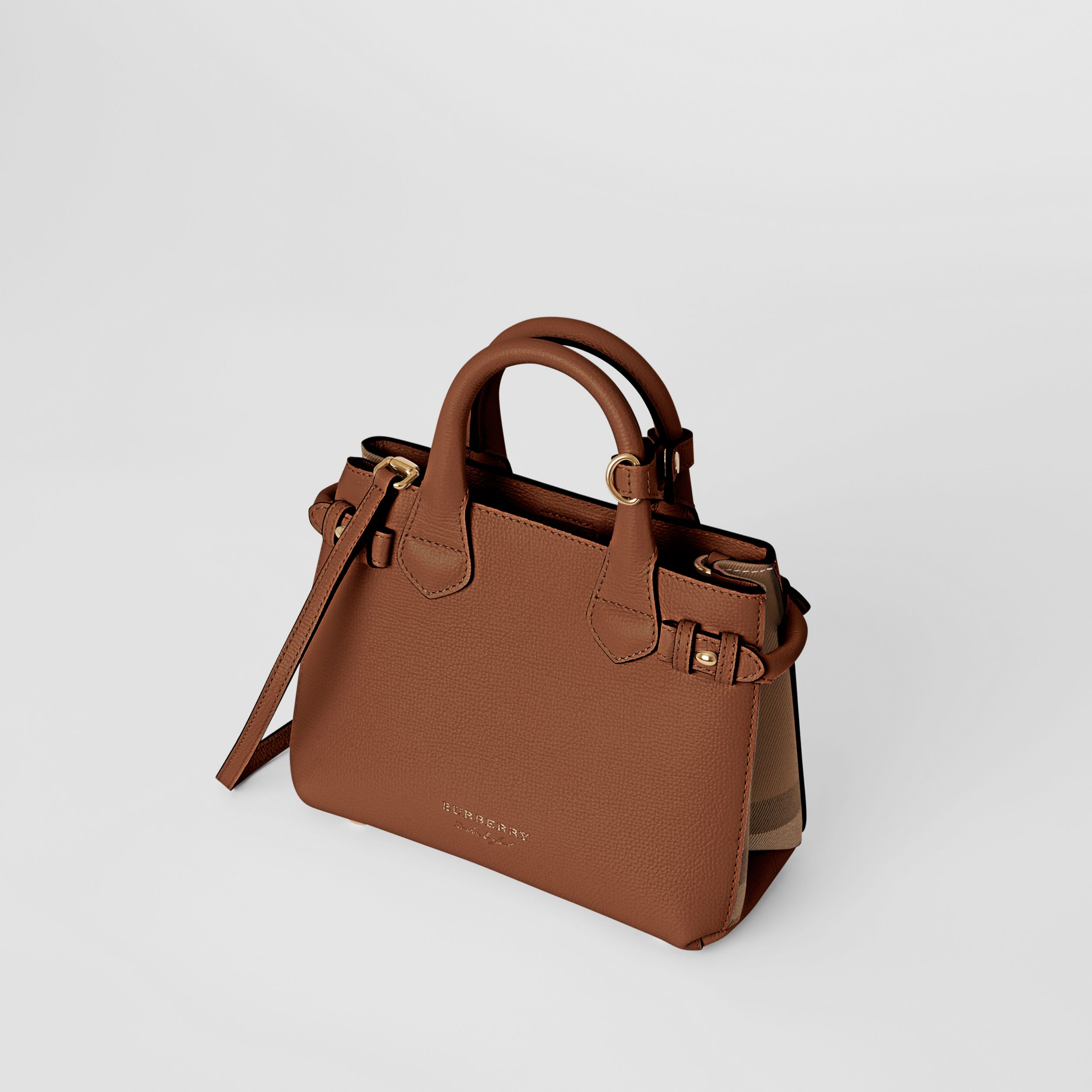 The Small Banner in Leather and House Check in Tan - Women | Burberry - 3