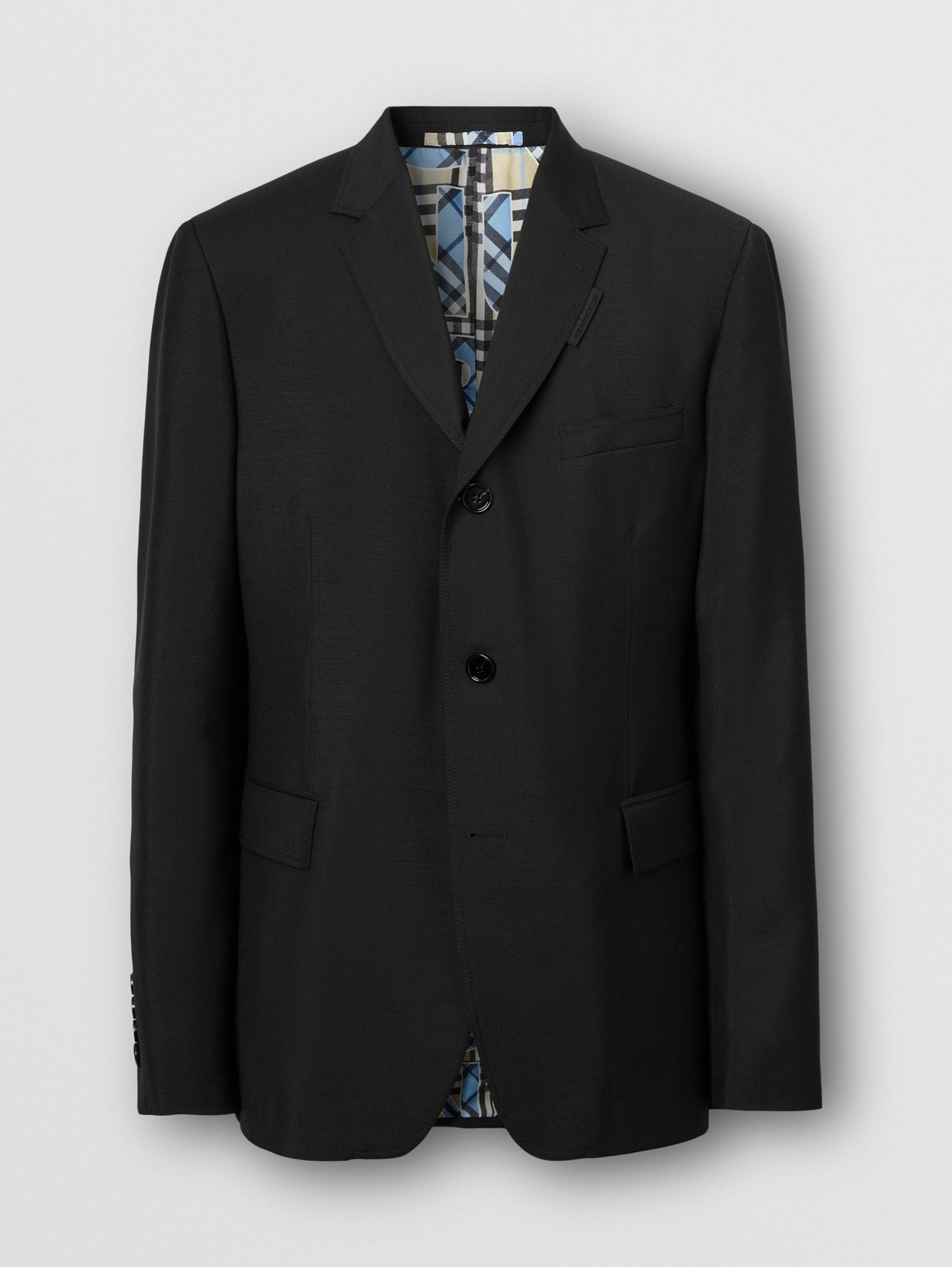Relaxed Fit Mohair Wool Tailored Jacket in Black