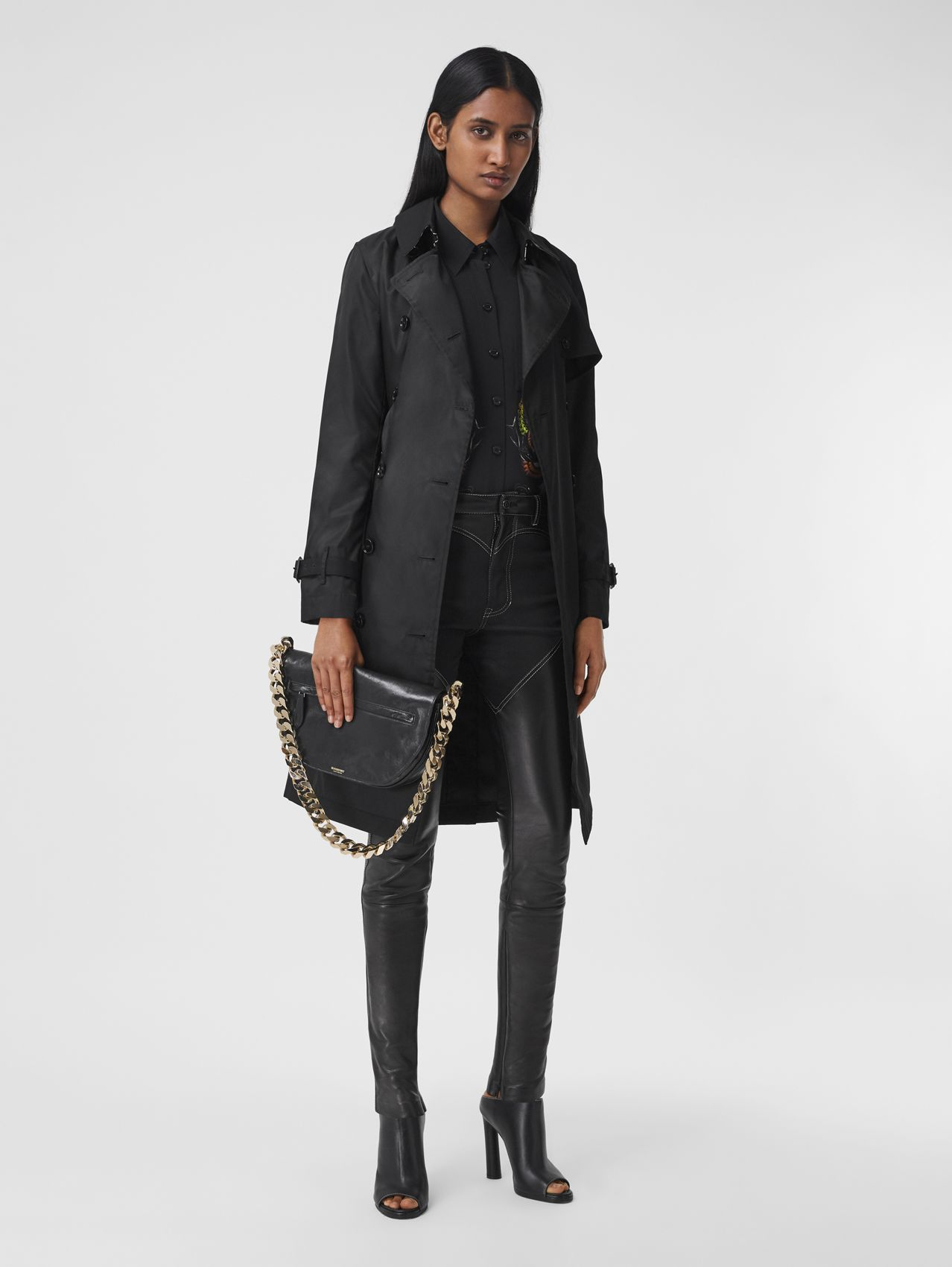 Gabardine Detail ECONYL® Trench Coat in Black