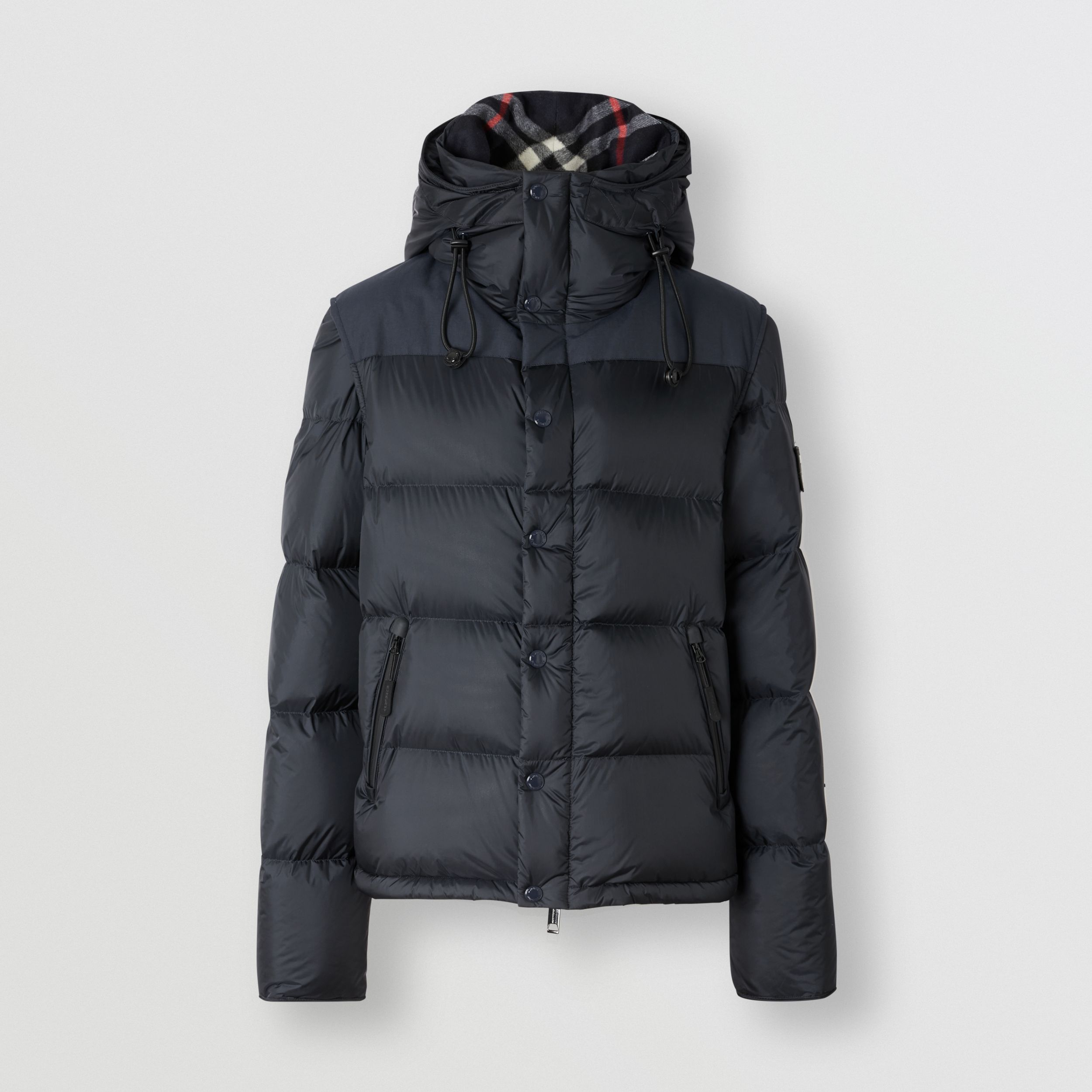 Detachable Sleeve Hooded Puffer Jacket in Navy - Men | Burberry Australia - 3